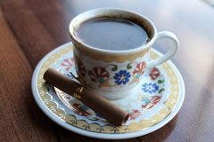 Turkish Coffee. On the brown desk stock photo
