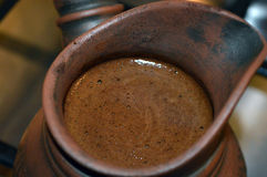 Turkish coffee in cezve royalty free stock photo