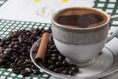 Turkish coffee and cinamon Royalty Free Stock Photo