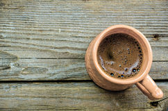 Turkish coffee in a clay cup Royalty Free Stock Images