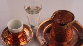 Turkish Coffee in coffee pot - cezve stock footage