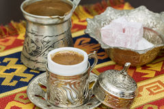 Turkish coffee with coffee pot and turkish delights Royalty Free Stock Images