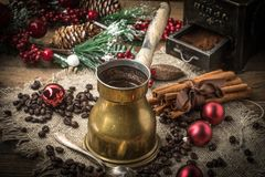 Turkish coffee in copper coffe pot royalty free stock image
