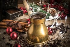 Turkish coffee in copper coffe pot stock photography