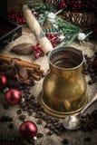Turkish coffee in copper coffe pot stock image