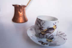 Turkish coffee. Cup and pot Royalty Free Stock Photography