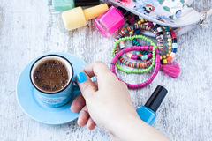 Turkish coffee cup with summer style Royalty Free Stock Photo