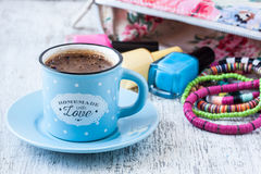 Turkish coffee cup with summer style Royalty Free Stock Image