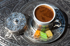 Turkish Coffee. Delicious Turkish coffee with Turkish delight Royalty Free Stock Photos