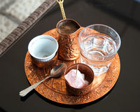 Turkish coffee. With turkish delight Royalty Free Stock Photo