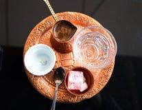 Turkish coffee. With turkish delight Stock Photos