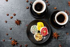 Turkish Coffee with Turkish Delight Stock Images