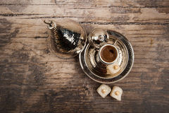 Turkish coffee and delights Royalty Free Stock Photography