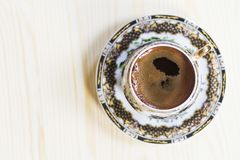 Turkish coffee in a fancy cup. stock images