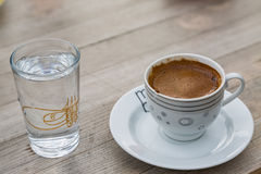 Turkish coffee with a glass of water Royalty Free Stock Photos