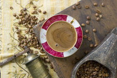 Turkish coffee - Greek coffee. Turkish coffee with grinder and beans Stock Photos