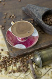 Turkish coffee - Greek coffee. Turkish coffee with grinder and beans stock photography