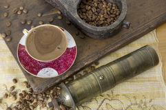 Turkish coffee - Greek coffee. Turkish coffee with grinder and coffee beans Stock Photography