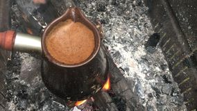Turkish coffee on the grill stock video