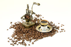 Turkish coffee with grinder and beans Royalty Free Stock Image