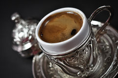 Turkish coffee. Hot Turkish coffee in a metal cup Royalty Free Stock Images