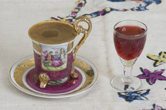 Turkish coffee and liquor. Delicious turkish coffee with liquor stock photography