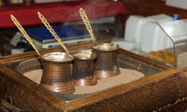 Turkish coffee. Made at kettle on hot sand Stock Photography