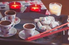 Turkish coffee and marshmallow Stock Image