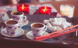 Turkish coffee and marshmallow Stock Photos