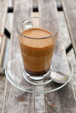 Turkish coffee with milk in glass cup close up Royalty Free Stock Photo