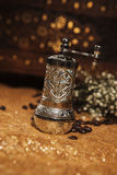Turkish coffee mill. Turkish coffee set is an antique cups and ottman stuffs Stock Image