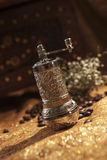 Turkish coffee mill. Turkish coffee set is an antique cups and ottman stuffs Stock Images