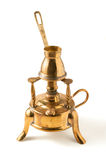 Turkish coffee pot. Pot for turkish coffee and portable heater on white Stock Images