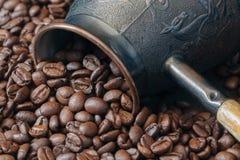 Turkish Coffee Pot, Cezve With Coffee Beans Stock Photo
