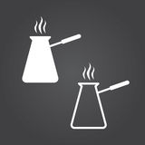 Turkish coffee pot cezve icon. Solid and Outline Versions. White. Icons on a dark background Stock Image