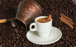Turkish coffee pot with cup of coffee Stock Photos