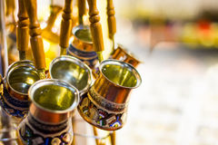 Turkish coffee pots. On display Stock Photos