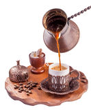 Turkish coffee  pouring isolated Stock Photo