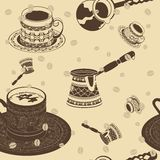Turkish Coffee Seamless Pattern. Editable Turkish Coffee Vector Illustration Seamless Pattern Royalty Free Stock Photo