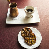 Turkish coffee serve and Cookies with nuts Royalty Free Stock Photo