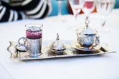 Turkish coffee served in Anatolian silverware Stock Images