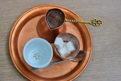 Turkish coffee, served in a copper set Royalty Free Stock Photos