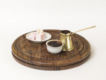 Turkish coffee served with a traditional turkish delight Stock Image