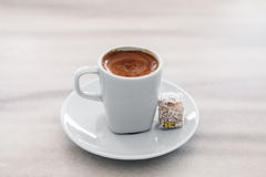 Turkish Coffee served with Turkish Delight Royalty Free Stock Photos