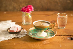 Turkish Coffee served with Turkish delight. On the table stock image