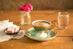 Turkish Coffee served with Turkish delight. On the table stock photos