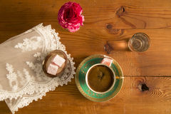 Turkish Coffee served with Turkish delight. On the table stock photo