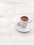 Turkish Coffee served with Turkish Delight and Water Royalty Free Stock Photography