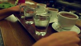 Turkish Coffee Serving stock video footage