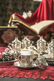 Turkish coffee set. Is an antique cups and ottman stuffs Stock Images
